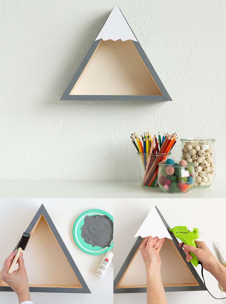 DIY triangle shelves in 5 different ways (via www.fun365.orientaltrading.com)