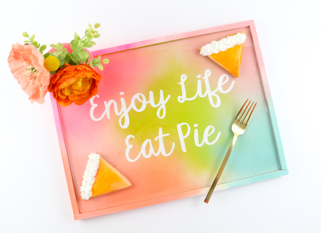 DIY colorful gradient serving tray for any parties