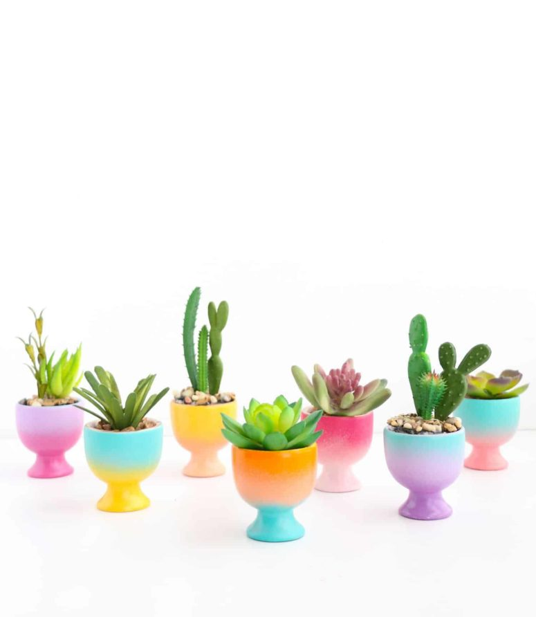 DIY mini gradient egg cup planter (via abeautifulmess.com)