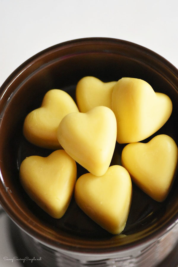 DIY beeswax heart shaped melts (via www.savvysavingcouple.net)