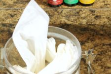 DIY kitchen cleaning wipes with a cool smell