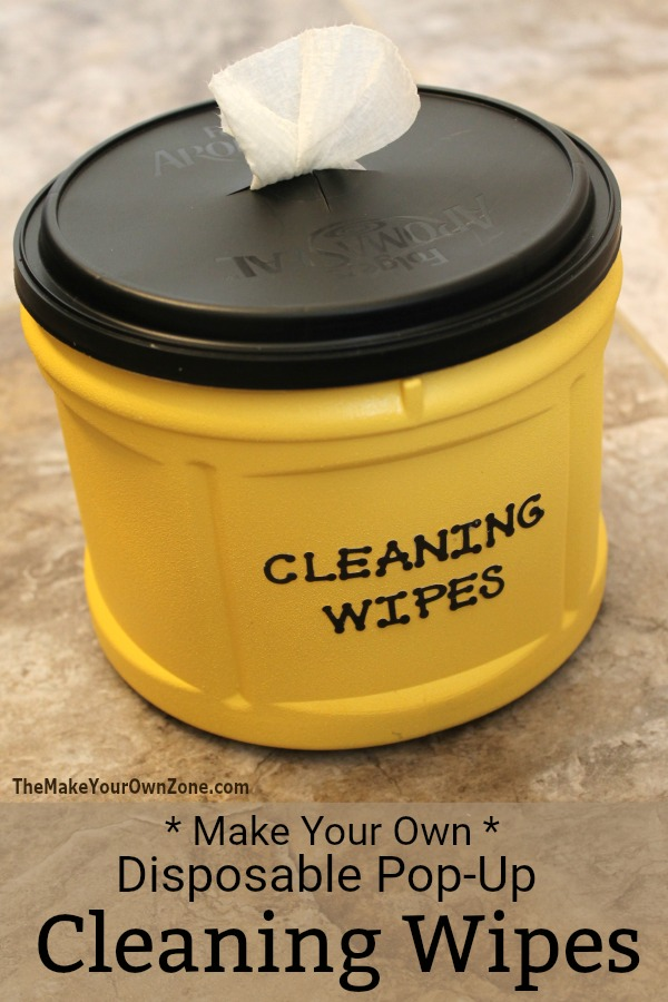DIY disposable cleaning wipes with comfortable containers (via www.themakeyourownzone.com)