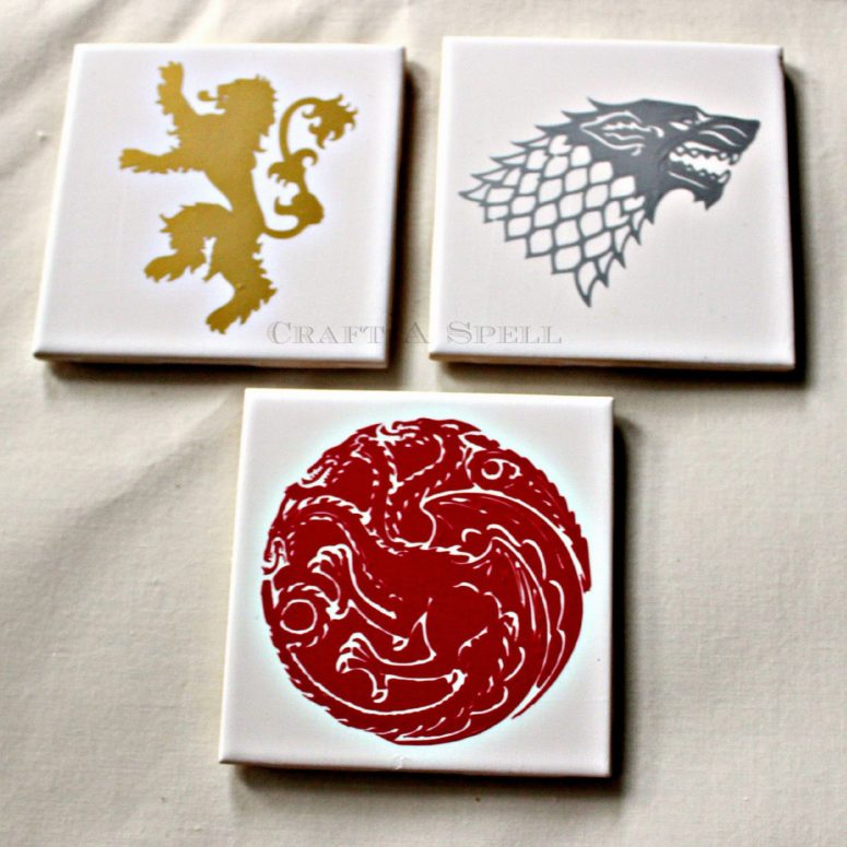 DIY Game of Thrones coasters with house emblems (via www.craftaspell.com)