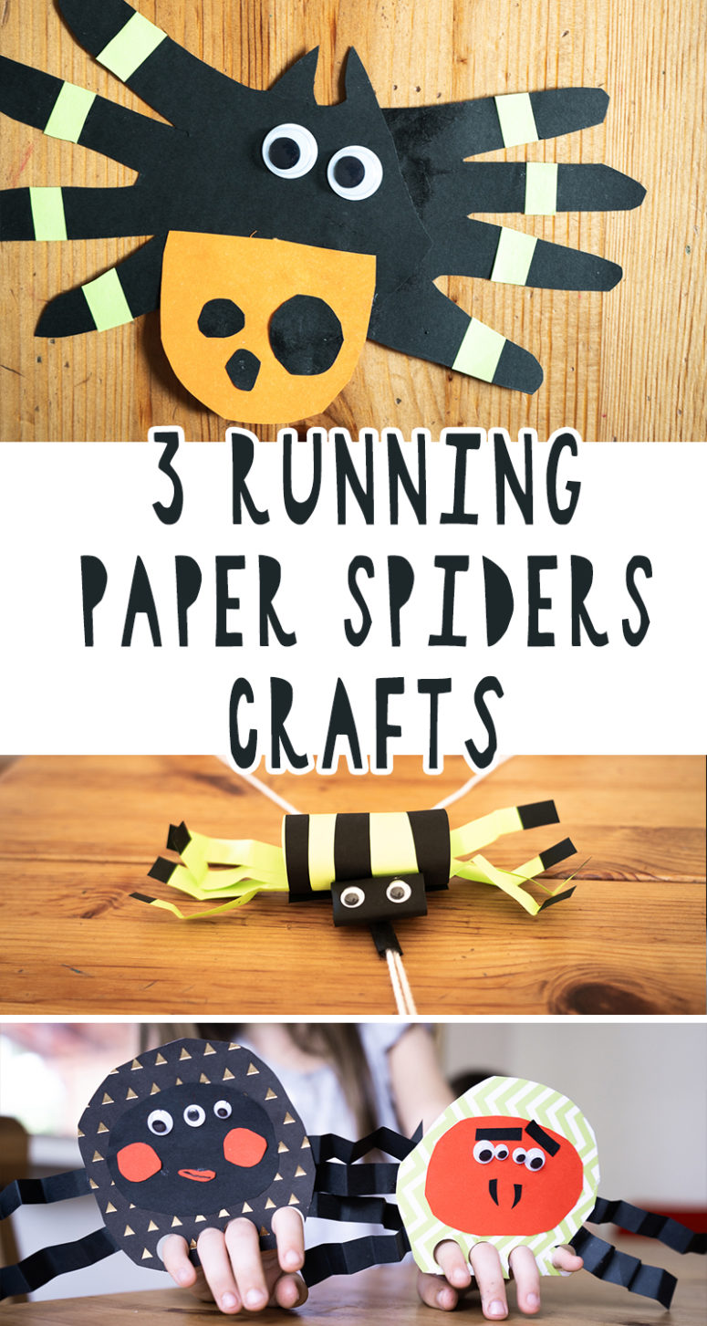 3 SUPER CUTE Running Paper Spider Crafts