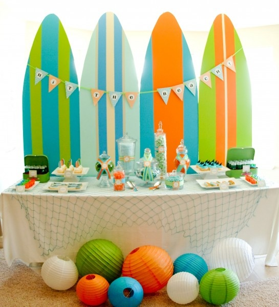a fun and colorful Surfer party is ideal for little boys who love beaches and surfing