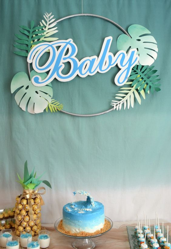 Beach is a timeless baby shower theme for summer, it may be done in various bright shades depending on what gender you are having