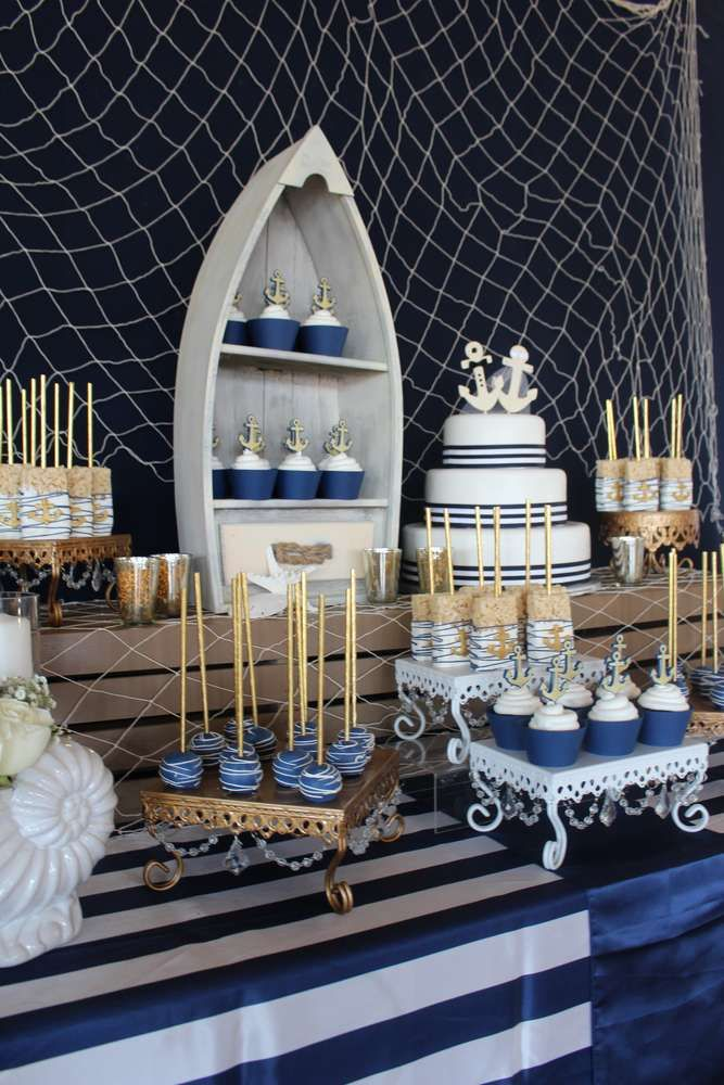nautical party theme is classics and the color scheme is pretty easy   grey, white, navy and gold