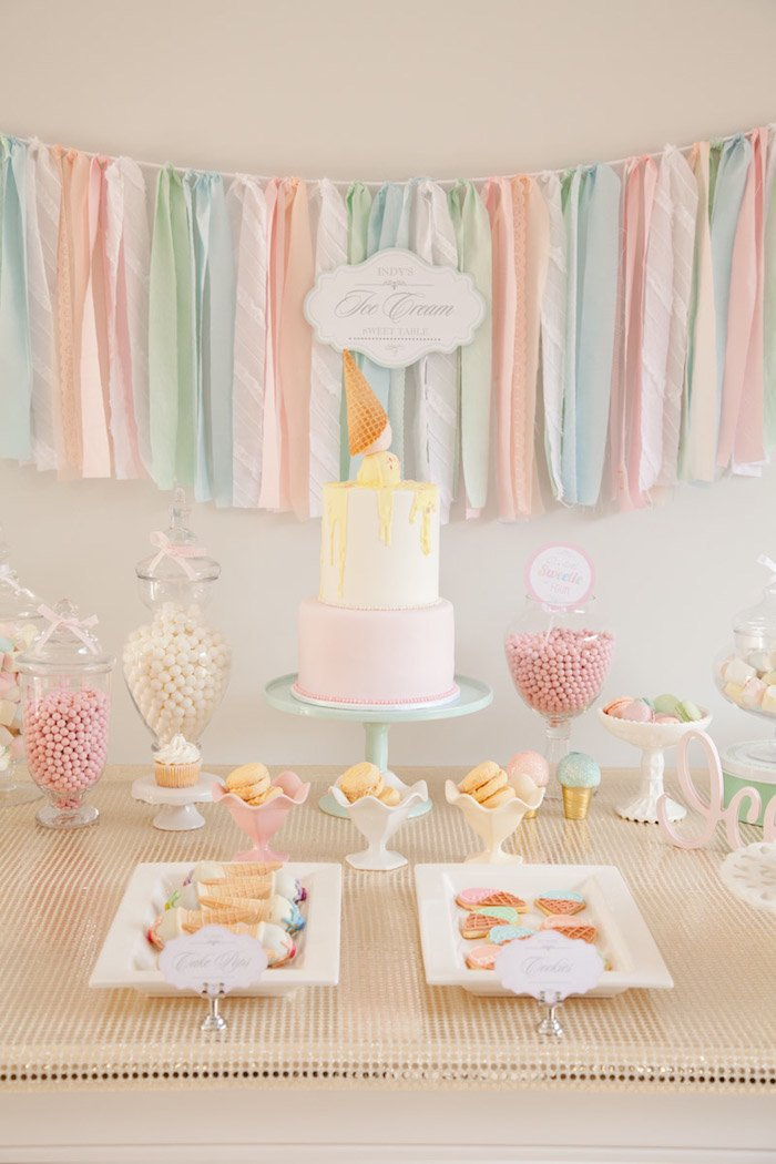 Ice Cream is a timeless summer baby shower party theme, don't forget a sundae bar