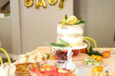 06 Citrus baby shower is a veyr actual and bright summer party idea, incorporate more refreshing fruit into treats and decor