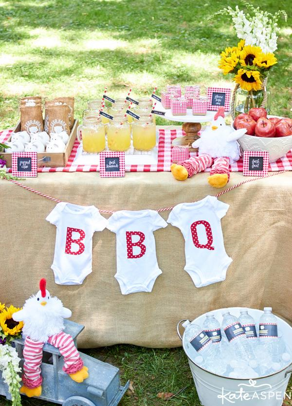 Baby-Q is a fun summer baby shower theme idea for those who prefer laid-back and more relaxed parties