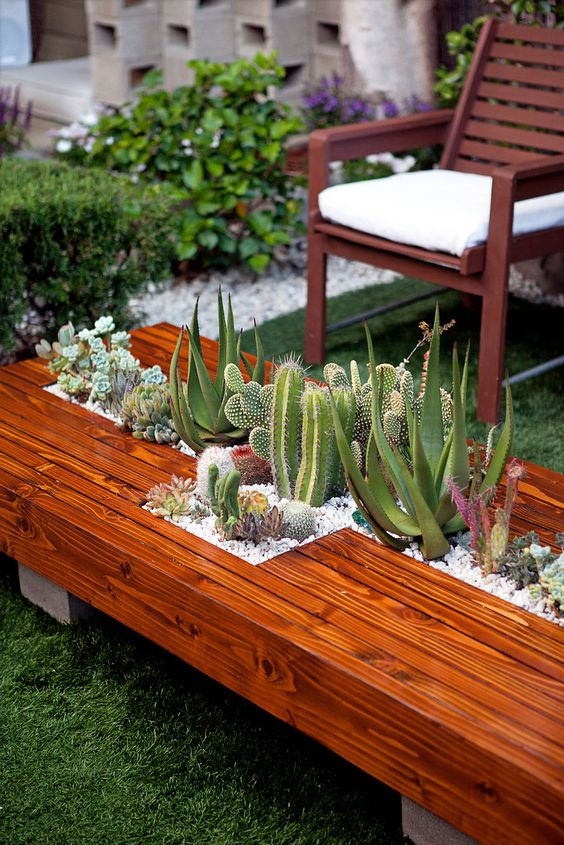a warm stained coffee table with a cross shaped planter and lots of cacti growing in it
