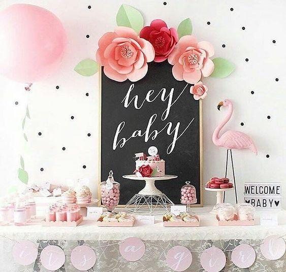 Flamingo is a nice idea for a girl baby shower, it's close to tropical theme and is usually pink-infused