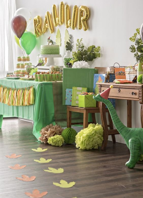 Dinosaur birthday themed party is all about fun and whimsy decor with various types of dino figurines