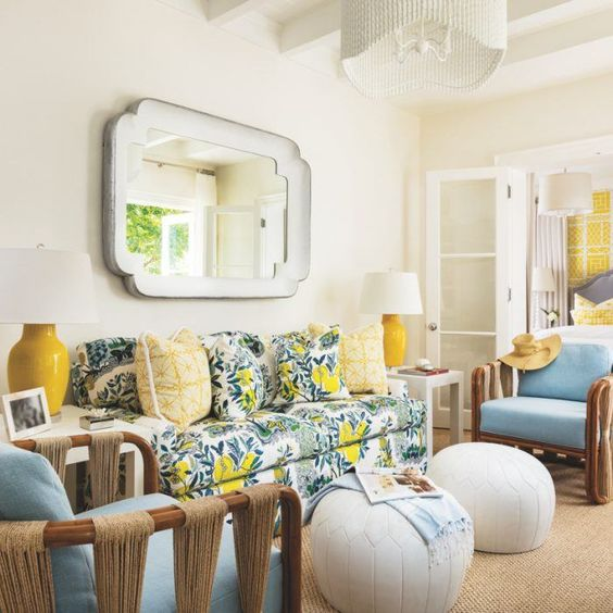a citrus print sofa cheers up the living room and makes it feel summer-like
