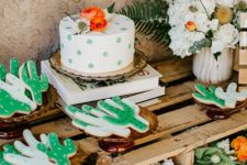 11 a polka dot baby shower cake and cactus-shaped cookies are amazing for your boho desert baby shower