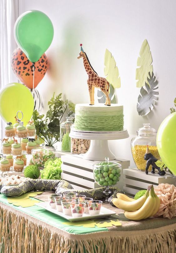 Jungle birthday party theme is a gorgeous fun and bright idea, rock various savanna animals