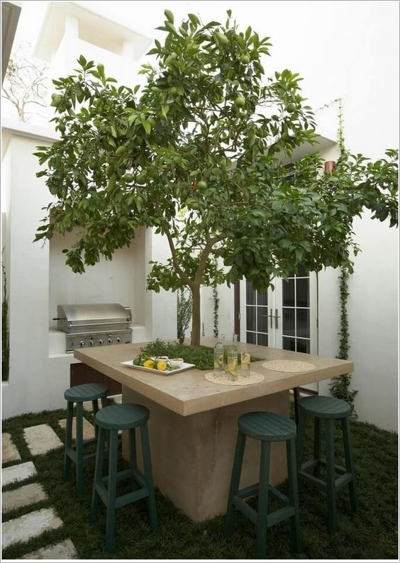 an outdoor dining table of concrete wth a real tree growing in the center will refresh any tiny patio