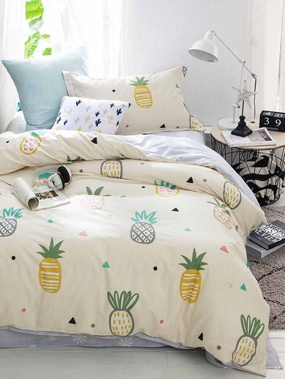 funny pineapple print bedding will cheer up the bedroom and will make it fun and summery
