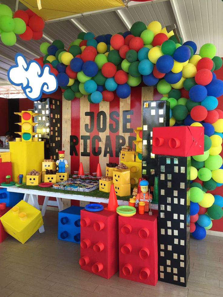 Lego is another popular birthday party theme, go for all the bright colors you usually see in LEGO boxes