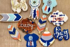14 blue and orange boho cookies will be a perfect fit for a boy baby shower