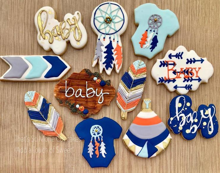 blue and orange boho cookies will be a perfect fit for a boy baby shower