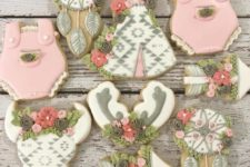 16 pretty green and pink boo sugar cookies are a great idea for your baby shower