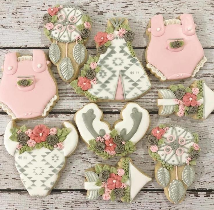 pretty green and pink boo sugar cookies are a great idea for your baby shower