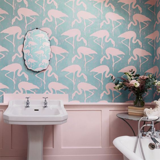 blue and light pink flamingo wallpaper will instantly make it feel very summer like