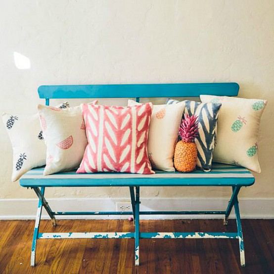 vintage inspired pillows with fruity prints done in pastels and in bolder colors are amazing
