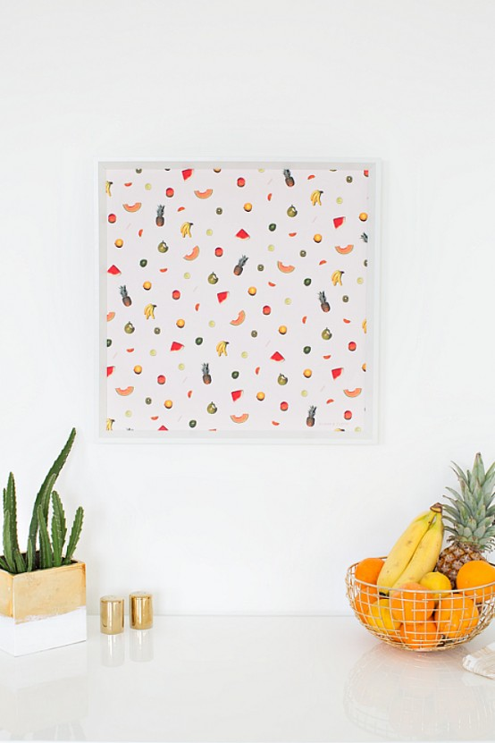 an abstract fruit artwork is what you need to spruce up your contemporary kitchen for summer