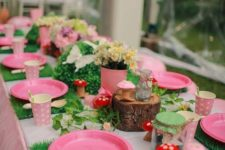 Fairy Garden birthday party is always a cute  idea, you'll need blooms and whimsy mushrooms for decor