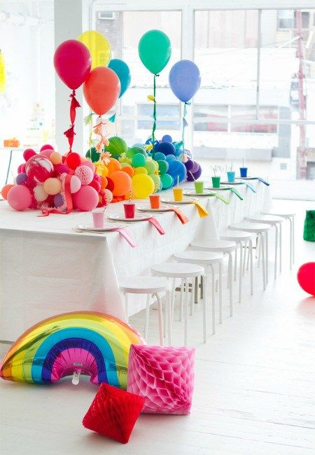 Rainbow girl's birthday party theme in all the colors is a very bright and fun idea to try
