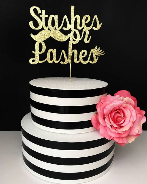 Staches or Lashes is a cool and fun idea of a gender reveal party theme, go glam and fun with it