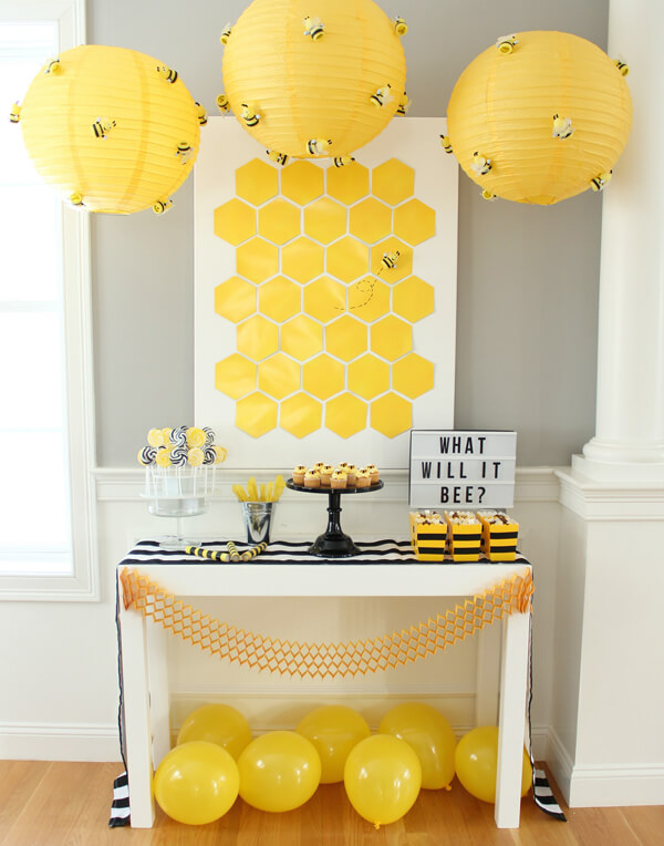 What will it bee is another classic gender reveal party theme, go for yellows and bees and honeycombs for decor