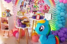 a colorful My Little Pony girl's birthday party is a very fun and shimy idea to try