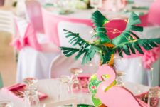 a tropical girl's birthday party done in pink and bright green, with flamingos and other birds and animals