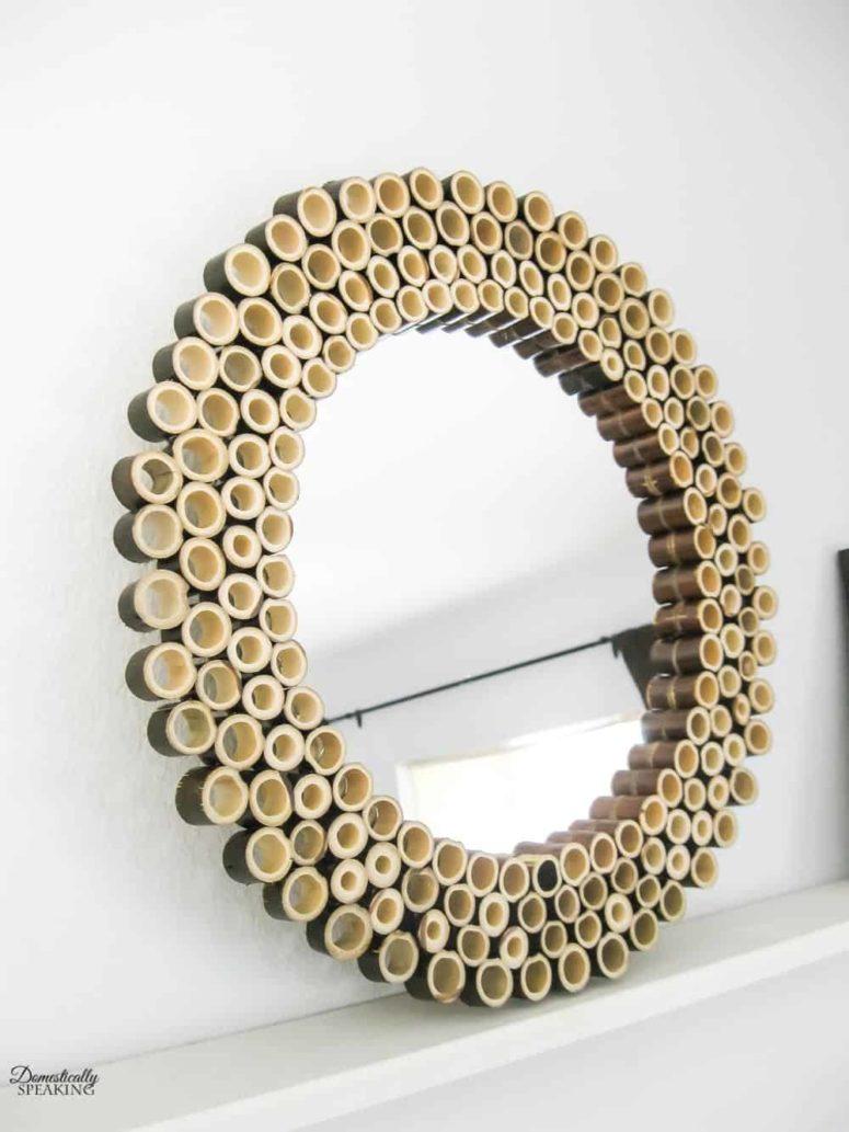 DIY cut bamboo sunburst mirror (via www.domestically-speaking.com)