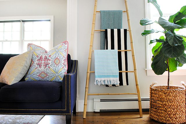 DIY lightweight bamboo ladder for storage (via www.ehow.com)