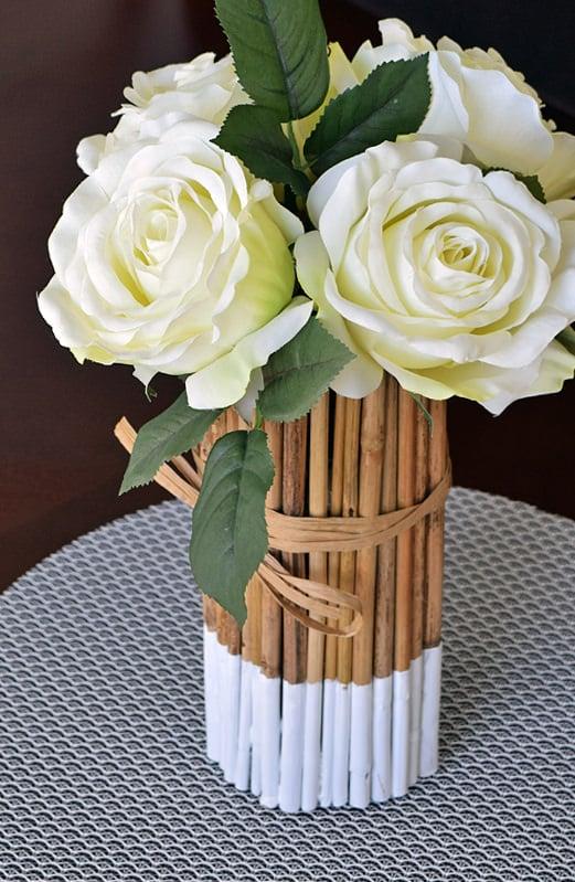 DIY bamboo stick vase cover