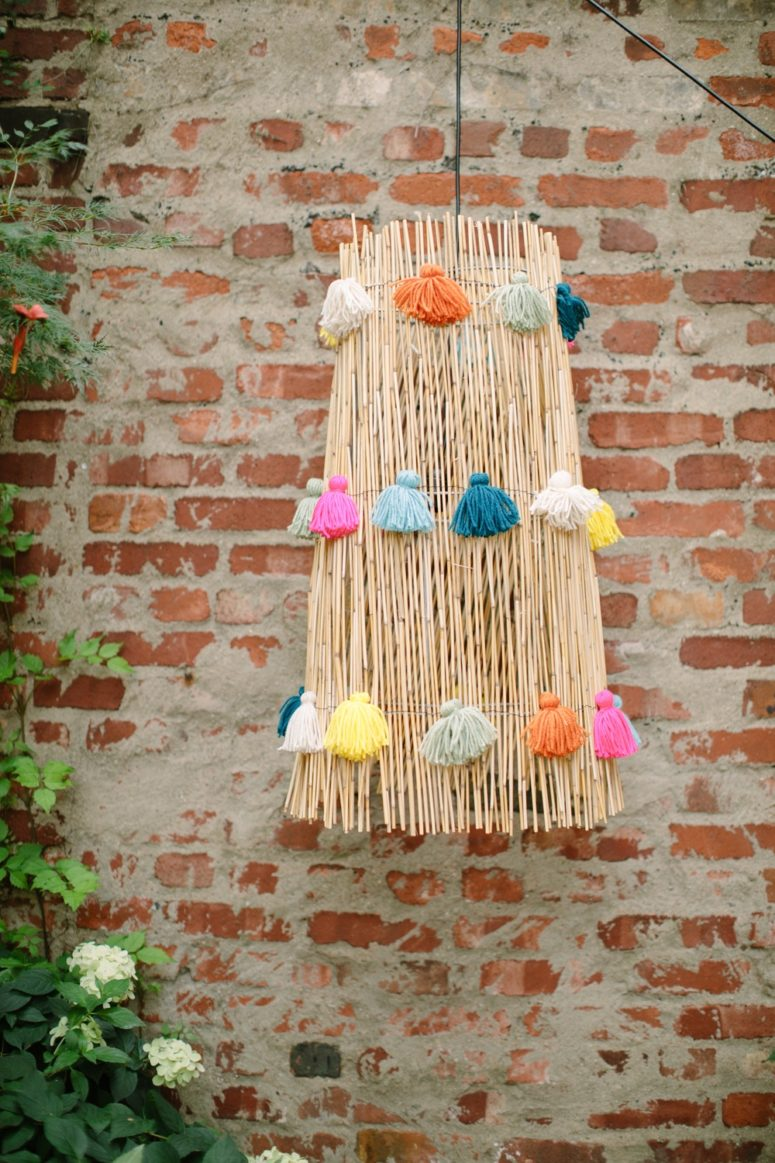 DIY boho bamboo pendant light with colorful tassels (via ruffledblog.com)