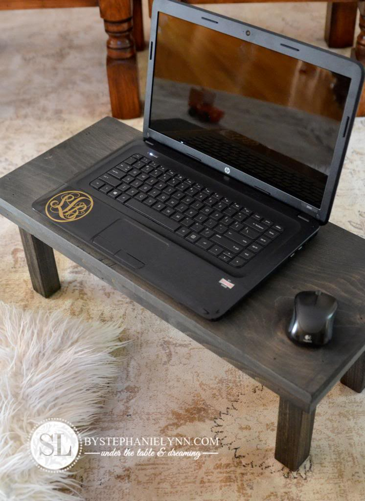 DIY dark stained lap desk (via www.bystephanielynn.com)