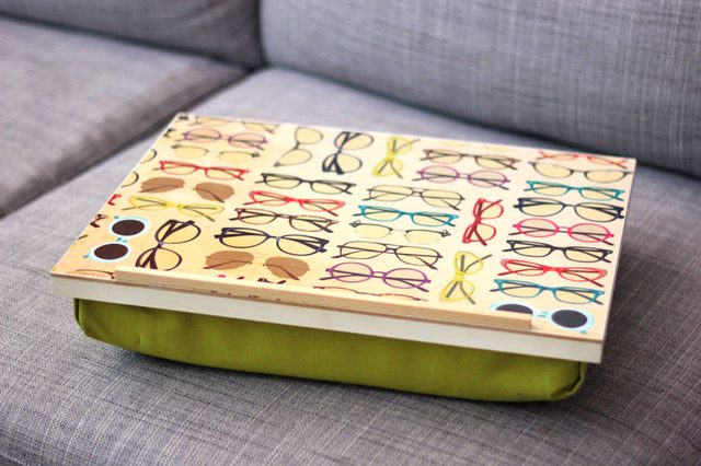 DIY pillow lap desk with a funny decorated top (via www.ehow.com)