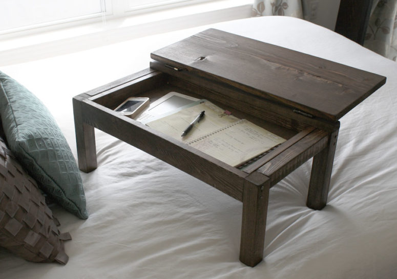 DIY dark stained lap desk with storage space (via jenwoodhouse.com)