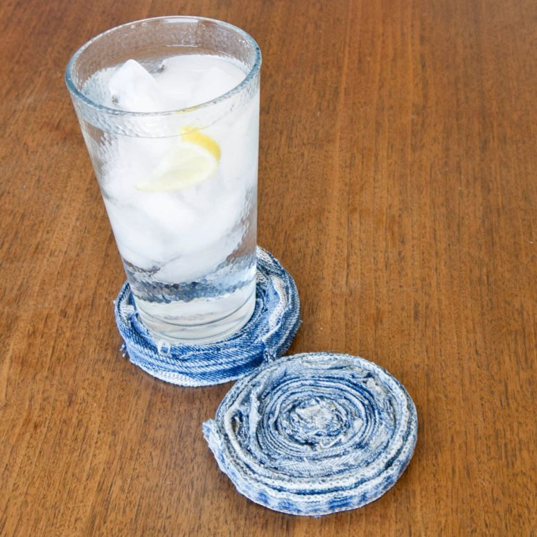 DIY rolled jeans coasters (via www.popsugar.com)