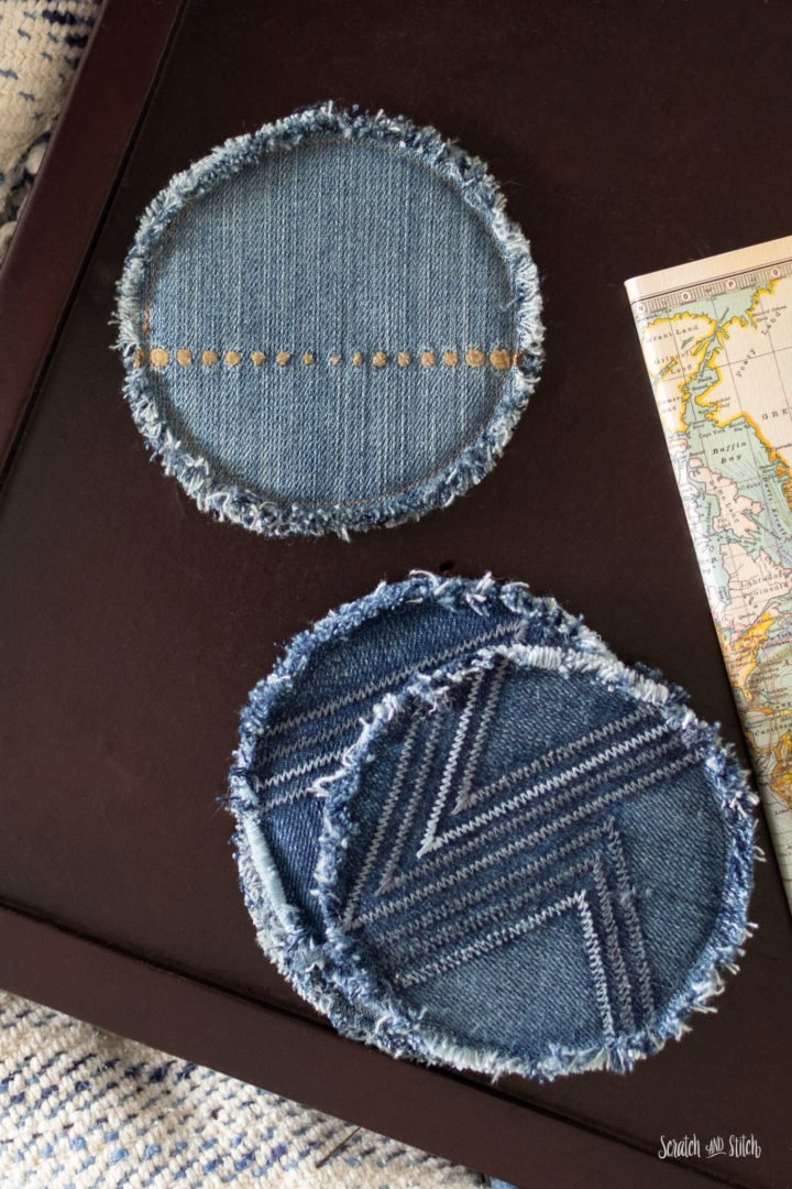 DIY coasters of old jeans with seams and fringe (via scratchandstitch.com)
