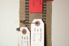 DIY fabric growth chart with pins