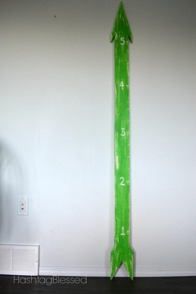 DIY neon green arrow growth chart