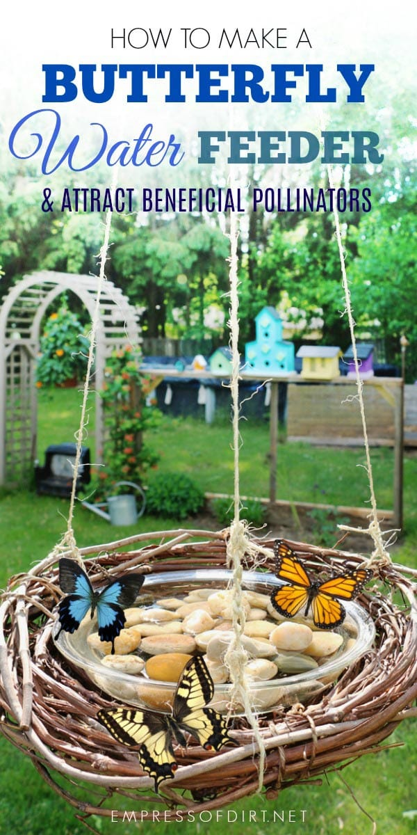 DIY butterfly feeder using pebbles and a vine wreath (via empressofdirt.net)