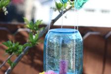 DIY mason jar and sponge butterfly feeder