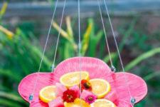 DIY flower plate butterfly feeder